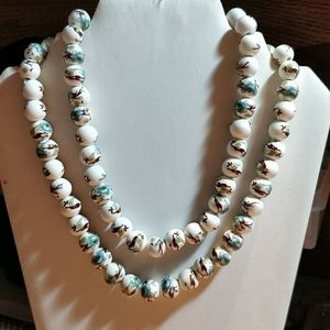 "Other - 32"" Porcelain Turquoise Flower Bead Necklace"